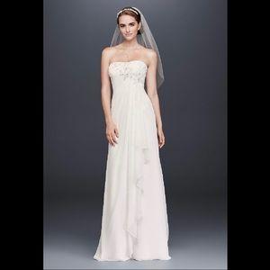 David's Bridal Draped Chiffon Sheath Wedding Dress